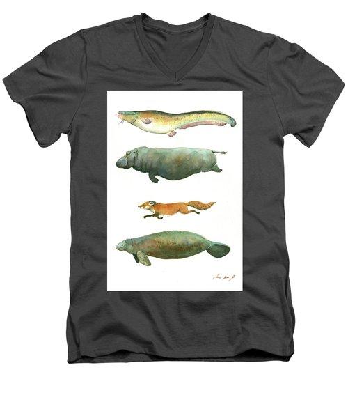 Swimming Animals Men's V-Neck T-Shirt by Juan Bosco