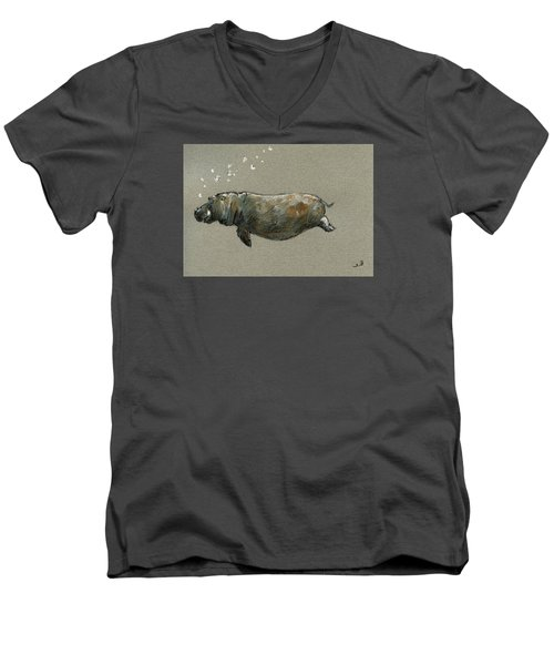 Swimming Hippo Men's V-Neck T-Shirt