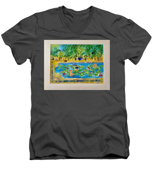 Swimming With Waterlilies And Fish Men's V-Neck T-Shirt