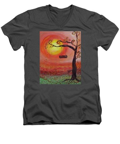 Swing Into Autumn Men's V-Neck T-Shirt by Barbara McDevitt