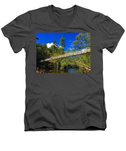 Toccoa River Swinging Bridge Men's V-Neck T-Shirt