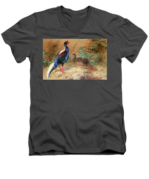 Swinhoe's Pheasant  Men's V-Neck T-Shirt by Joseph Wolf