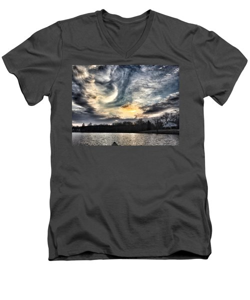 Swirl Sky Sunset Men's V-Neck T-Shirt