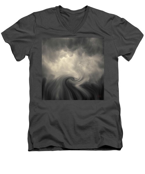 Men's V-Neck T-Shirt featuring the photograph Swirl Wave Vi Toned by David Gordon
