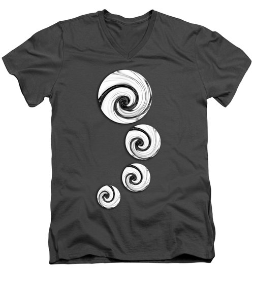 Men's V-Neck T-Shirt featuring the digital art Swirling Round by Shawna Rowe