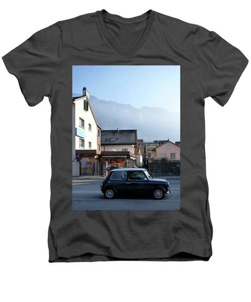 Men's V-Neck T-Shirt featuring the photograph Swiss Mini by Christin Brodie