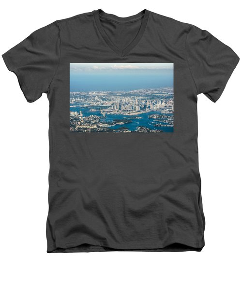 Sydney From The Air Men's V-Neck T-Shirt by Parker Cunningham