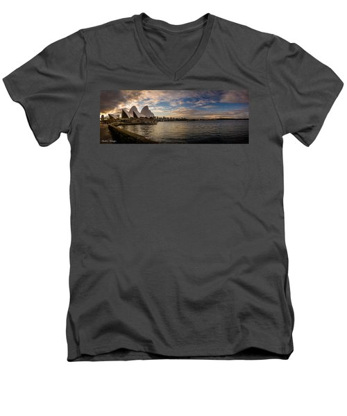 Men's V-Neck T-Shirt featuring the photograph Sydney Harbor by Andrew Matwijec