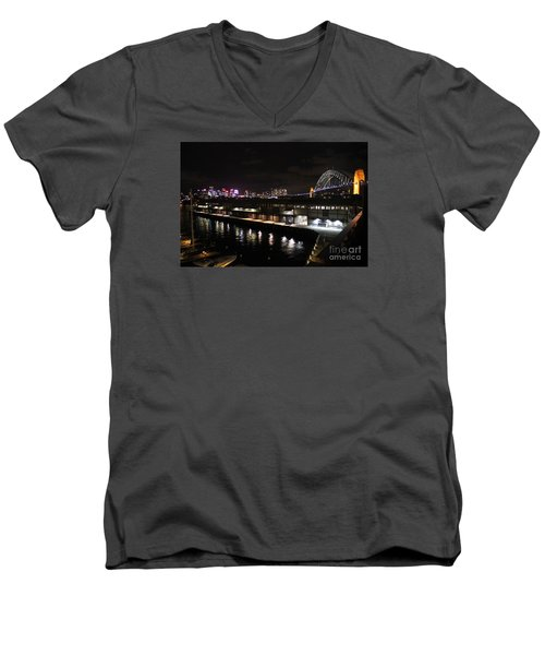 Sydney Harbor At Night Men's V-Neck T-Shirt by Bev Conover