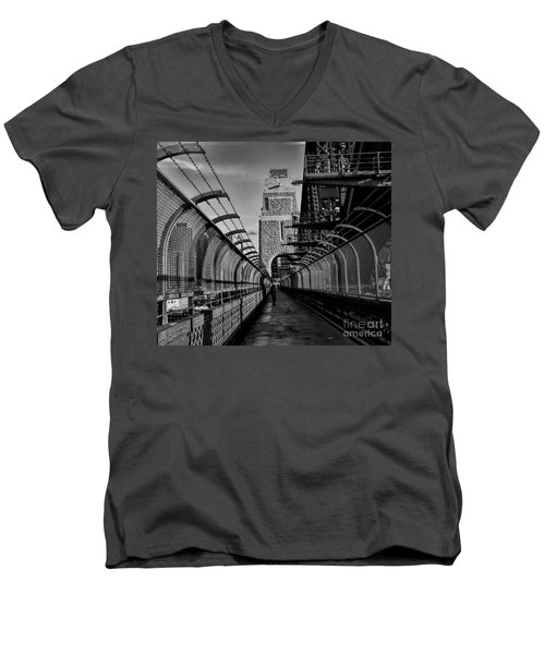Sydney Harbor Bridge Bw Men's V-Neck T-Shirt by Diana Mary Sharpton