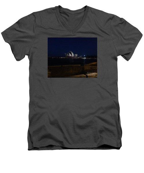 Sydney Opera House At Night Men's V-Neck T-Shirt by Bev Conover