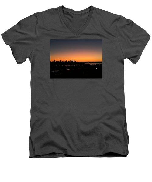 Sydney Skyline Men's V-Neck T-Shirt by Scarlett Bieri