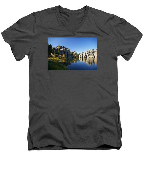 Sylvan Lake, Custer South Dakota Men's V-Neck T-Shirt by Karen Cade