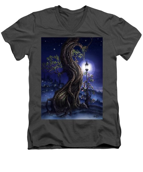 Sylvia And Her Lamp At Dusk Men's V-Neck T-Shirt by Curtiss Shaffer