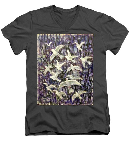 Men's V-Neck T-Shirt featuring the painting Symbol  Of Peace by Laila Awad Jamaleldin