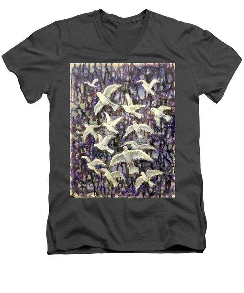 Symbol  Of Peace Men's V-Neck T-Shirt by Laila Awad Jamaleldin