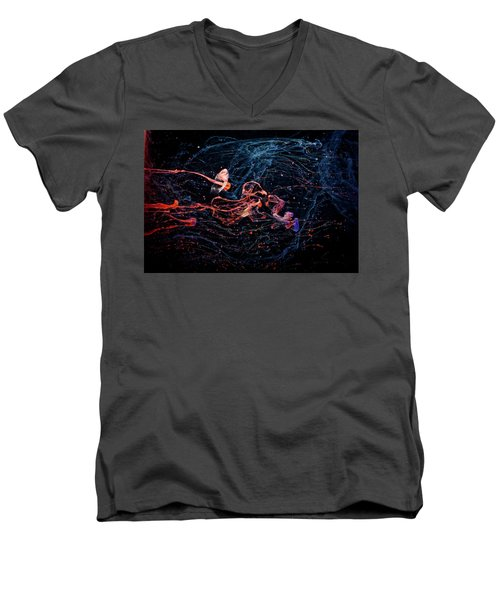 Symphony - Abstract Photography - Paint Pouring Men's V-Neck T-Shirt by Modern Art Prints