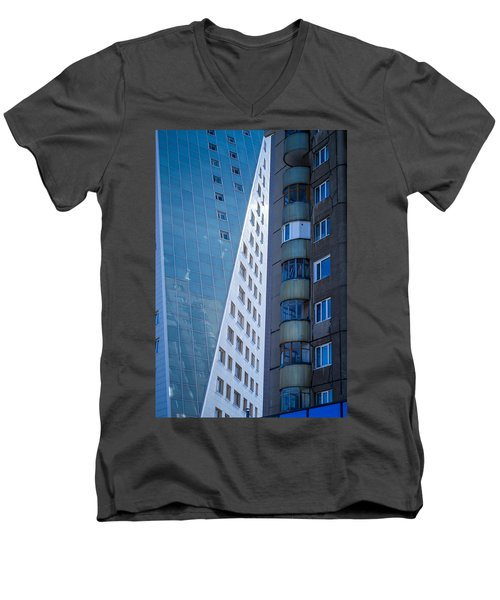 Men's V-Neck T-Shirt featuring the photograph Synergy Between Old And New Apartments by John Williams