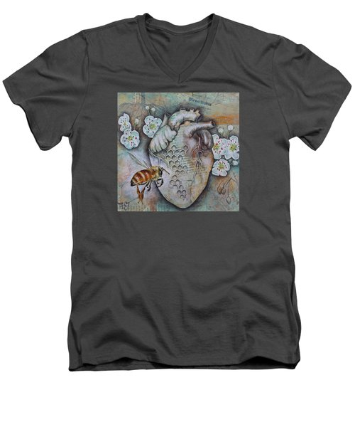 Men's V-Neck T-Shirt featuring the mixed media Synergy by Sheri Howe