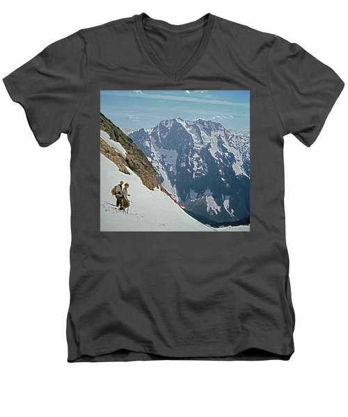 T-04402 Fred Beckey And Joe Hieb After First Ascent Forbidden Peak Men's V-Neck T-Shirt
