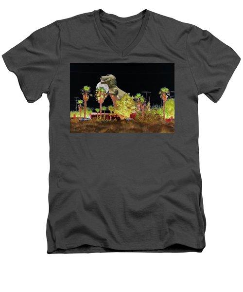 T-rex In The Desert Night Men's V-Neck T-Shirt