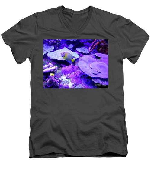Men's V-Neck T-Shirt featuring the photograph Ta Purple Coral And Fish by Francesca Mackenney
