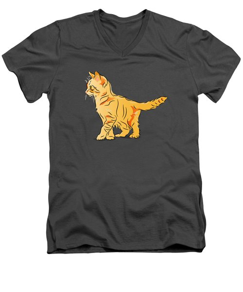 Tabby Kitten Men's V-Neck T-Shirt by MM Anderson
