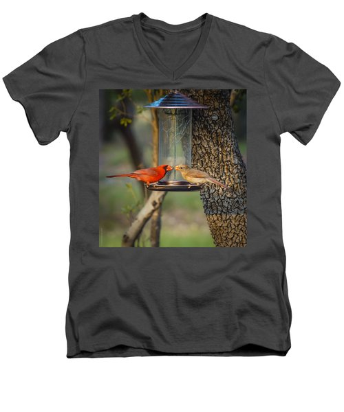 Men's V-Neck T-Shirt featuring the photograph Table For Two by Debbie Karnes