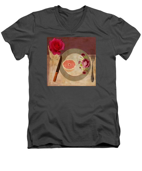Men's V-Neck T-Shirt featuring the digital art Tablescape by Lisa Noneman