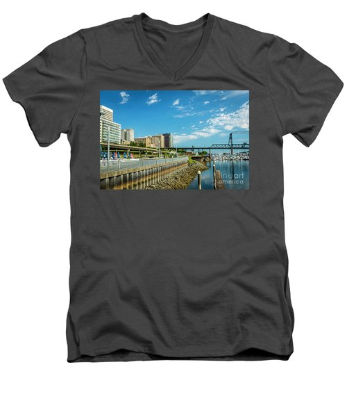 Tacoma And 11th Street Bridge Men's V-Neck T-Shirt
