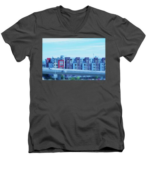 Men's V-Neck T-Shirt featuring the photograph Tacoma Blues - Cityscape Art Print by Jane Eleanor Nicholas