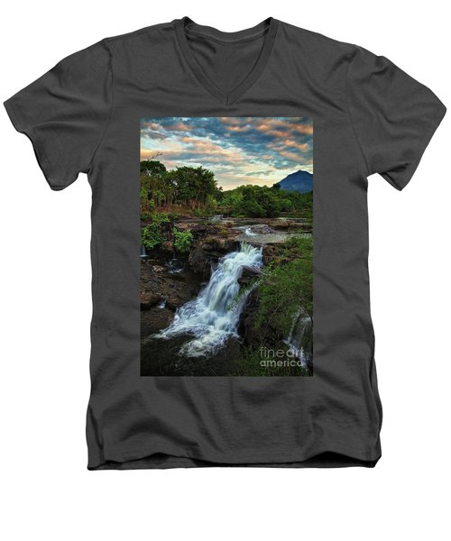 Tad Lo Waterfall, Bolaven Plateau, Champasak Province, Laos Men's V-Neck T-Shirt by Sam Antonio Photography
