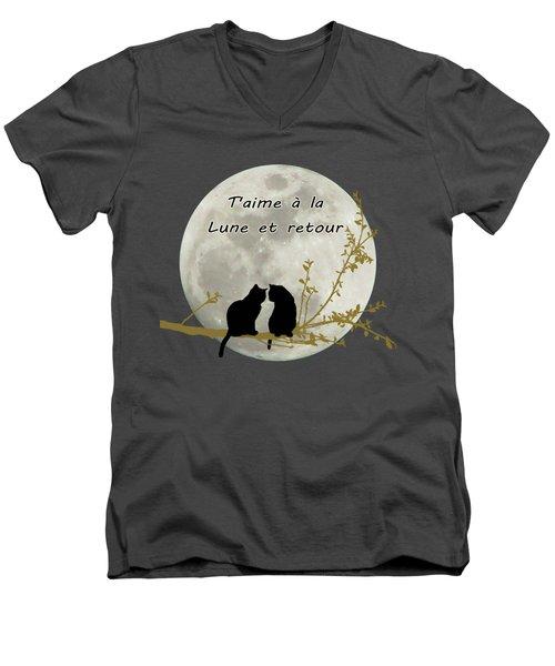 Men's V-Neck T-Shirt featuring the digital art T'aime A La Lune Et Retour by Linda Lees