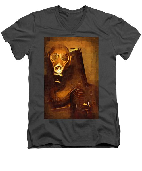 Men's V-Neck T-Shirt featuring the painting Tainted by Holly Ethan