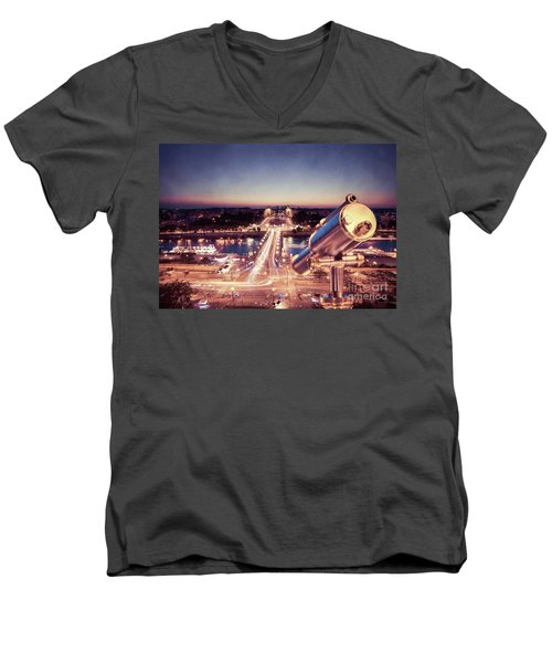 Men's V-Neck T-Shirt featuring the photograph Take A Look At Paris by Hannes Cmarits