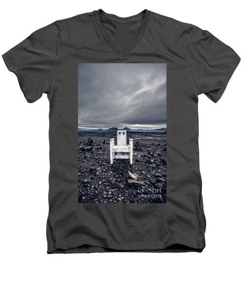 Men's V-Neck T-Shirt featuring the photograph Take A Seat Iceland by Edward Fielding