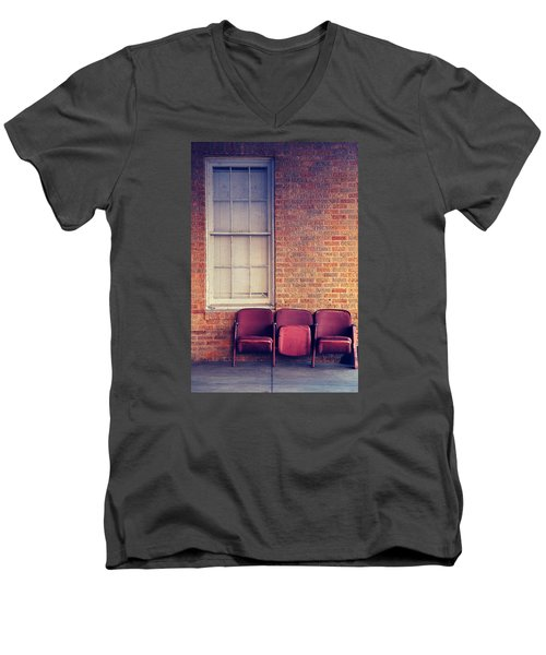 Men's V-Neck T-Shirt featuring the photograph Take A Seat by Trish Mistric