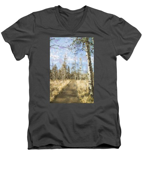 Men's V-Neck T-Shirt featuring the painting Take A Walk by Annette Berglund