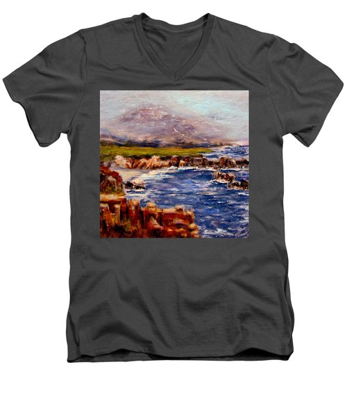 Men's V-Neck T-Shirt featuring the painting Take Me To The Ocean,, by Cristina Mihailescu