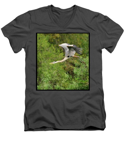 Men's V-Neck T-Shirt featuring the photograph Take Off by Shari Jardina