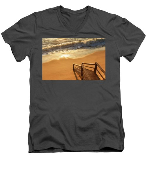 Take The Stairs To The Waves Men's V-Neck T-Shirt by Joni Eskridge