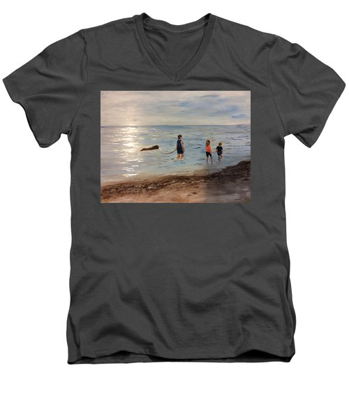 Taking A Newfoundland For A Walk Along The Beach Men's V-Neck T-Shirt