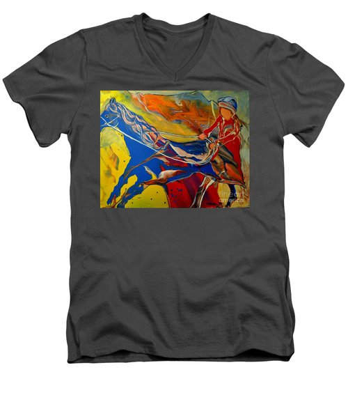 Men's V-Neck T-Shirt featuring the painting Taking The Reins by Deborah Nell