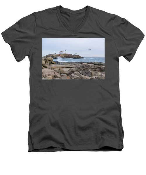 Tale Of Two Lighthouse Men's V-Neck T-Shirt by Patrick Fennell