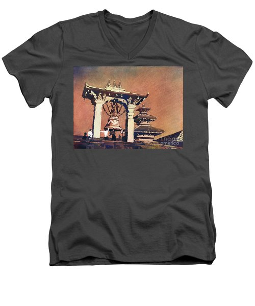 Men's V-Neck T-Shirt featuring the painting Taleju Bell- Patan, Nepal by Ryan Fox