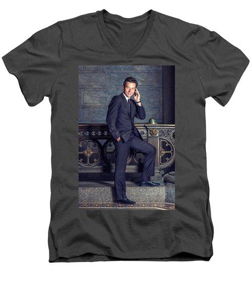 Talking On Phone Men's V-Neck T-Shirt