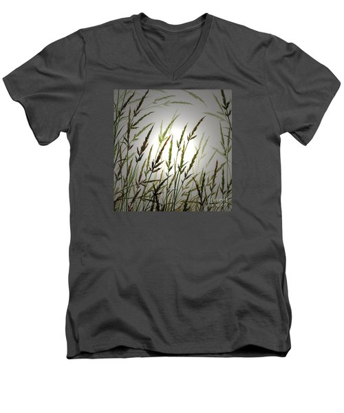 Men's V-Neck T-Shirt featuring the digital art Tall Grass And Sunlight by James Williamson