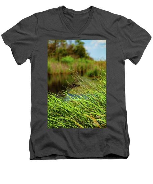 Tall Grass At Boat Dock Men's V-Neck T-Shirt