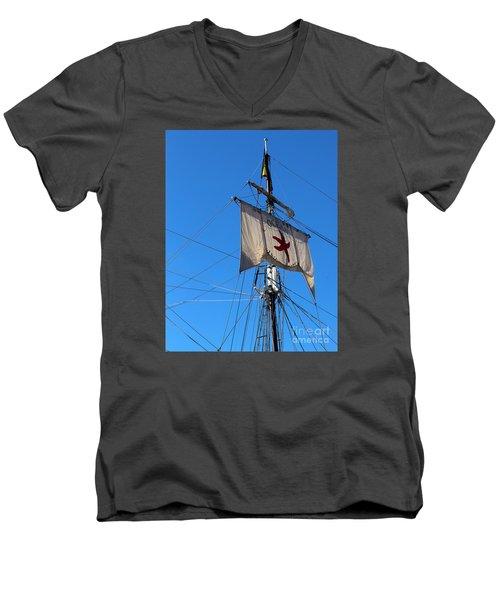 Tall Ship Mast Men's V-Neck T-Shirt by Cheryl Del Toro