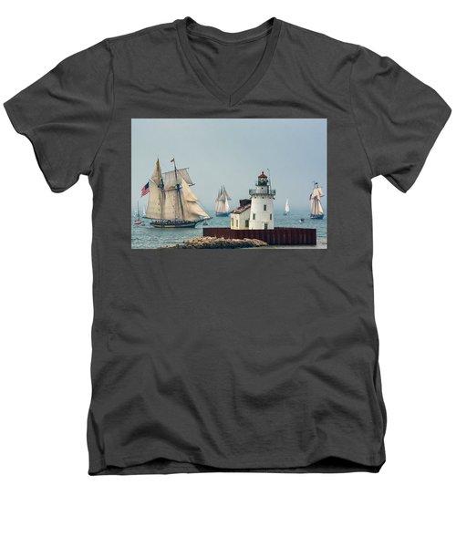 Tall Ships At Cleveland Lighthouse Men's V-Neck T-Shirt